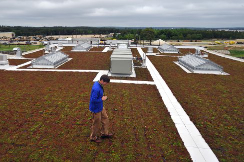 Man walks on green roof at Fort Bragg.