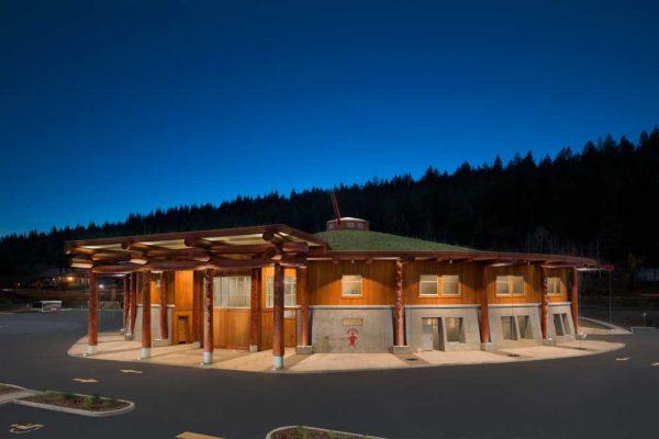Splatsin community center at night.