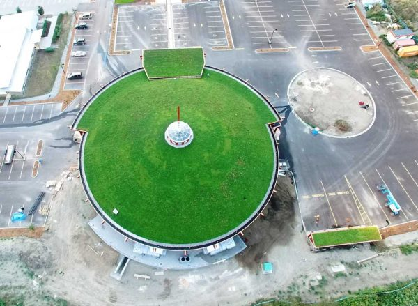 Aerial view of the Splatsin green roof.