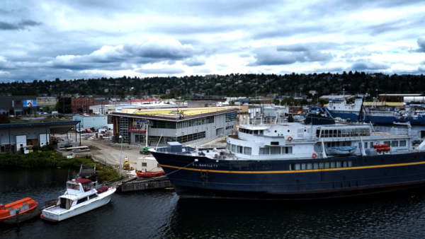 Boats in the harbor outside of the Seattle Maritime Academy.
