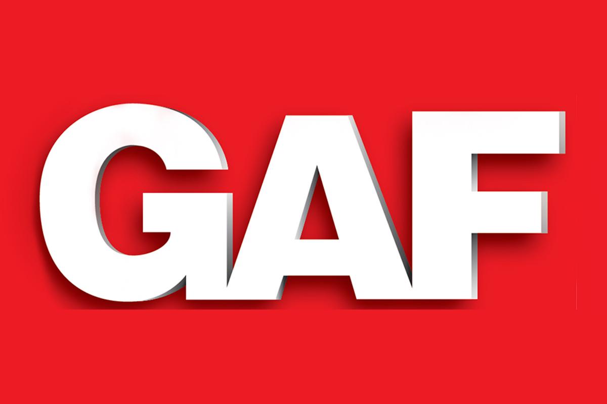 The GAF logo.