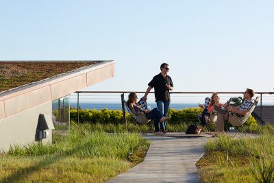 People socializing on a green roof in California.