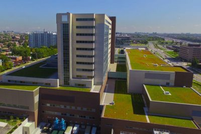 Aerial view of Humber River Hospital's green roof.