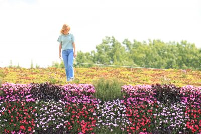 Woman stands atop a green roof plant wall combo.