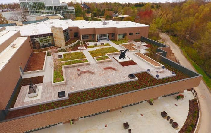 Green roof application accompanies a roof-top sculpture garden.