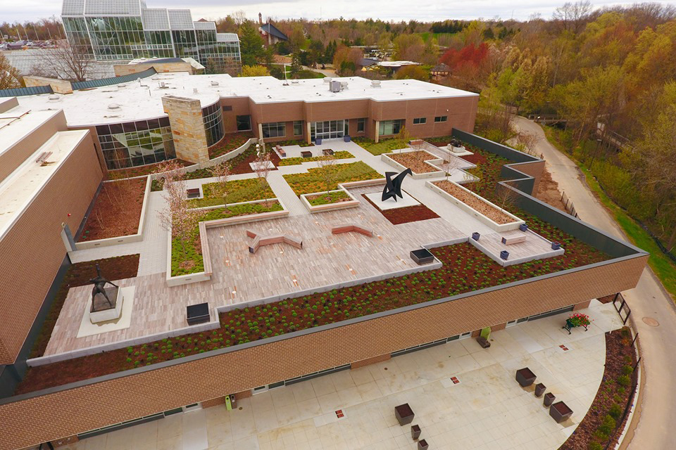 Green roof application accompanies a roof-top sculpture garden.