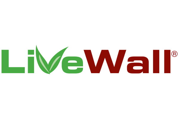 LiveWall logo: the words Live and Wall in green and red.