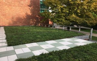 White and green RoofStone pavers at Michigan State University green roof