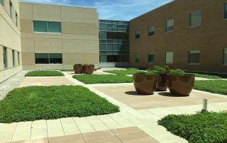 Multi-colored RoofStone paver patio at St Elizabeth hospital green roof