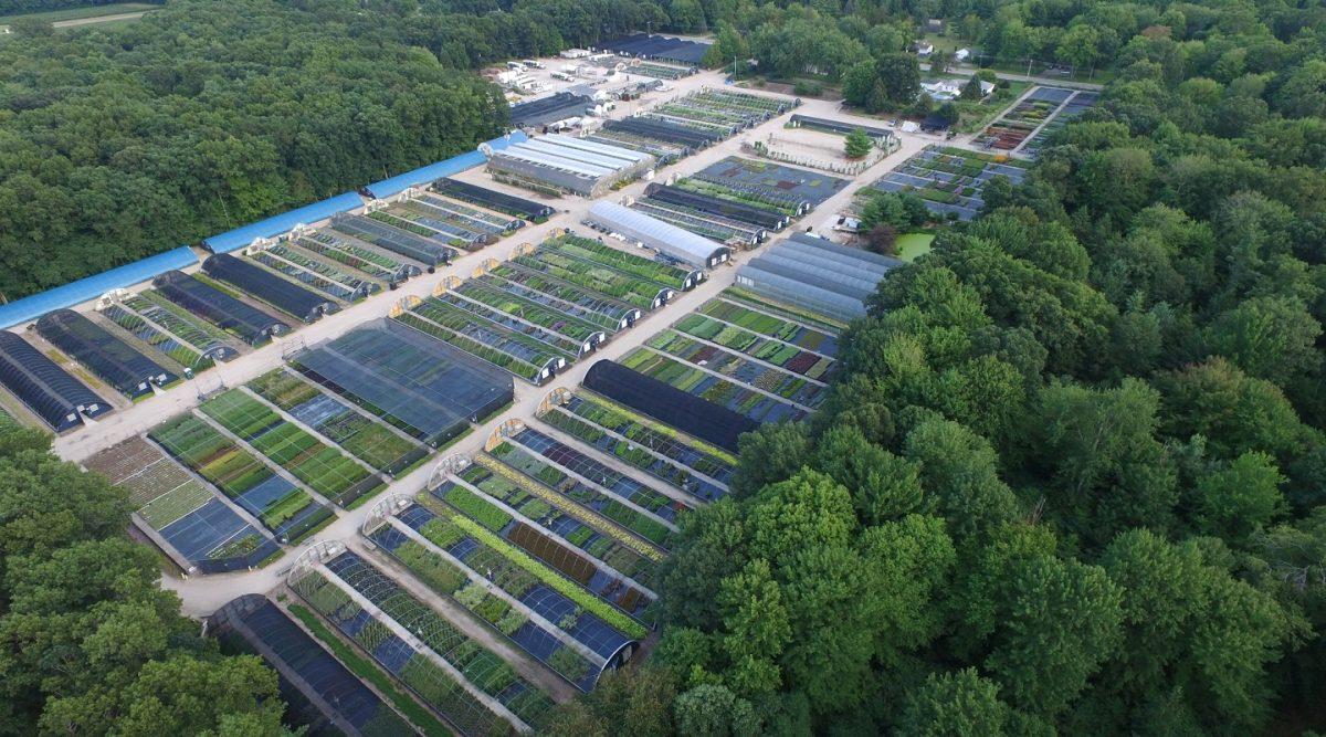 Aerial view of Hortech Nursery in Nunica, MI