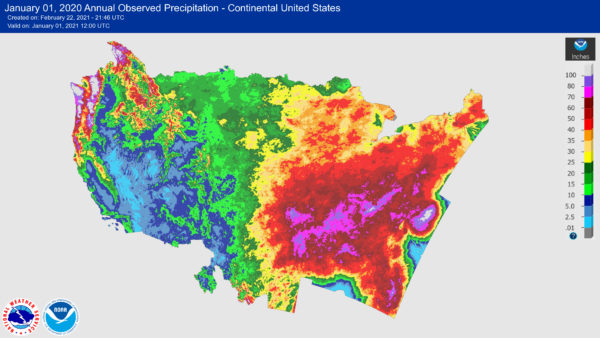 Annual Normal Precipitation Map Generated by NOAA and NWS